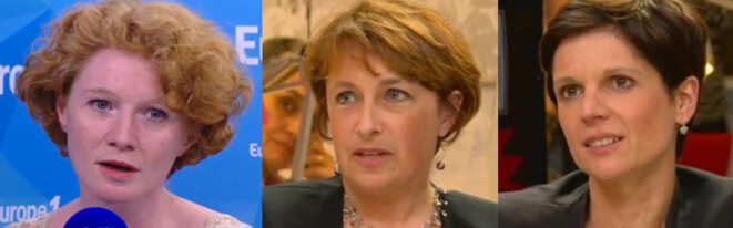De gauche à droite, Elen Debost, Isabelle Attard, Sandrine Rousseau, qui ont porté plainte contre Denis Baupin