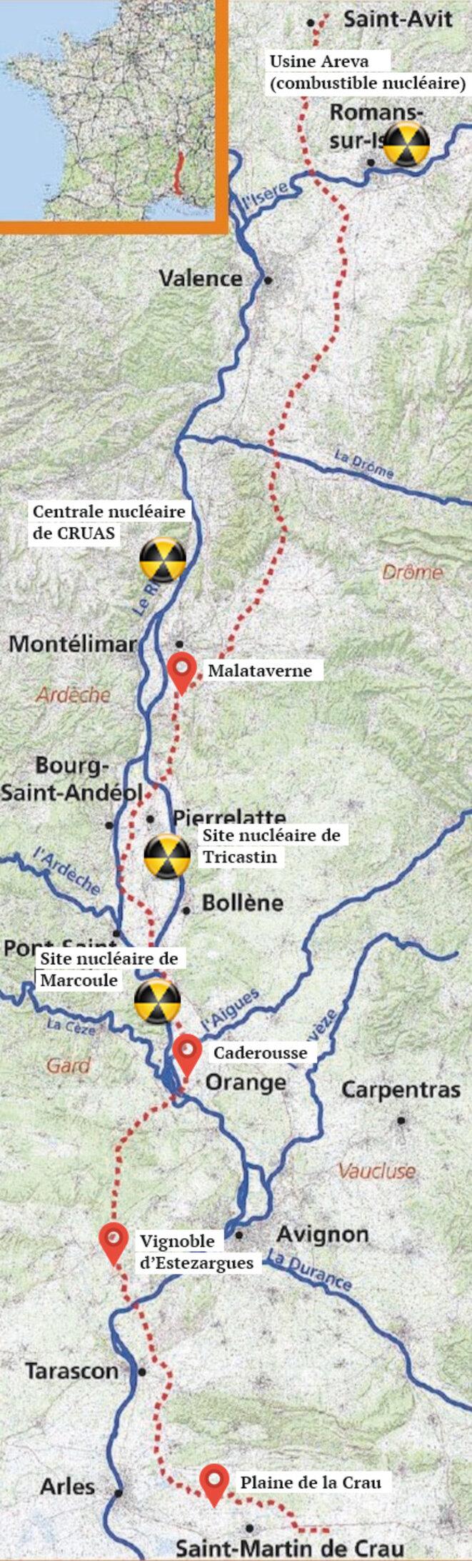 Le tracé du gazoduc (source : GRTgaz) et les installations traversées. © Mediapart
