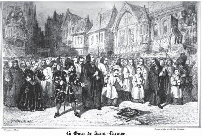 La chute de la bannière de Saint-Godard. Lithographie de Nicétas Periaux, 1836. © Gustave Morin