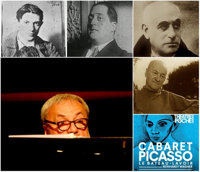 Cabaret-Picasso invite le peintre espagol avec ses amis : Max Jacob, Guillaume Apollinaire, André Salmon © Frantz Vaillant