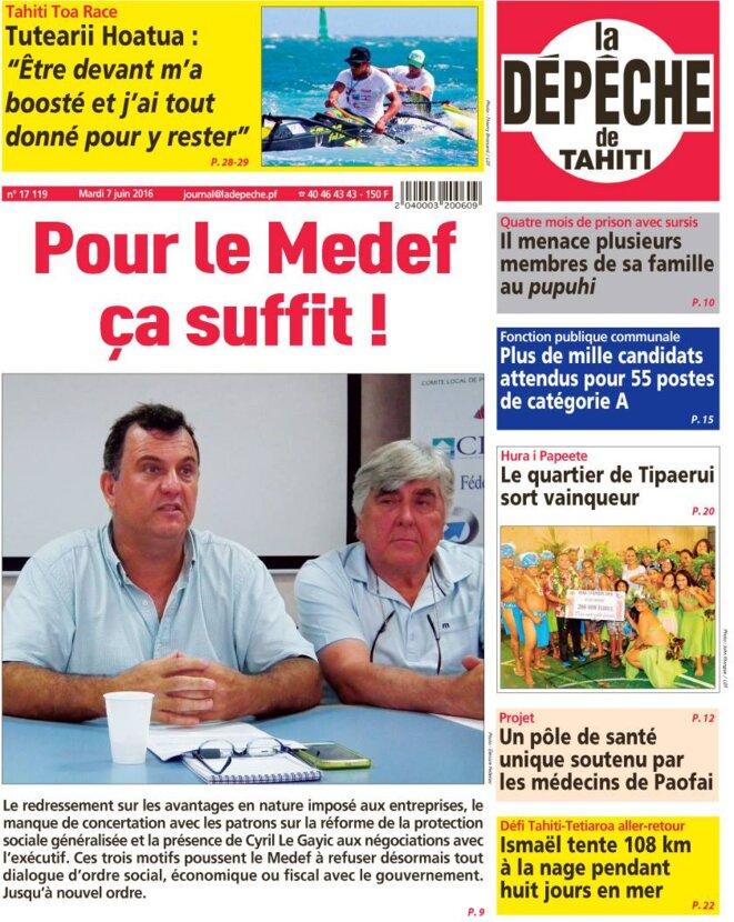 """La Une de """"La Dêpêche de Tahiti"""" du 07 juin. Voire en bas de page à droite."""