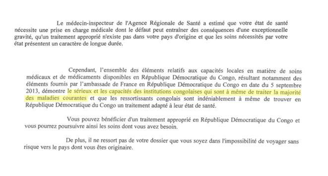 Extrait d'un refus de titre de séjour pour soins par la préfecture du Rhône, mars 2016