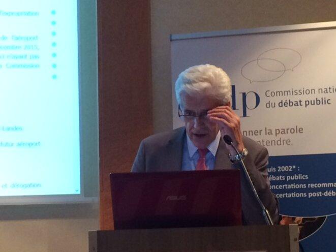 Christian Leyrit lors de la présentation du site d'information sur l'aéroport de Notre-Dame-des-Landes, le 9 juin (JL).