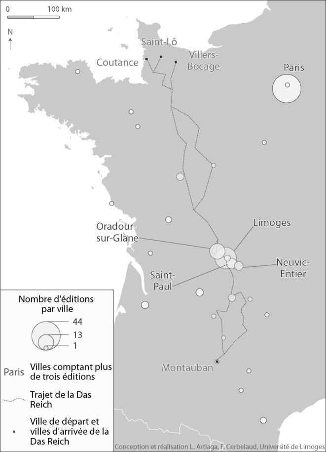 Carte 3. Lieux de publication des livres consacrés à Oradour-sur-Glane, à proximité du trajet de la division Das Reich (1944-2014) © Artiaga/Cerbelaud