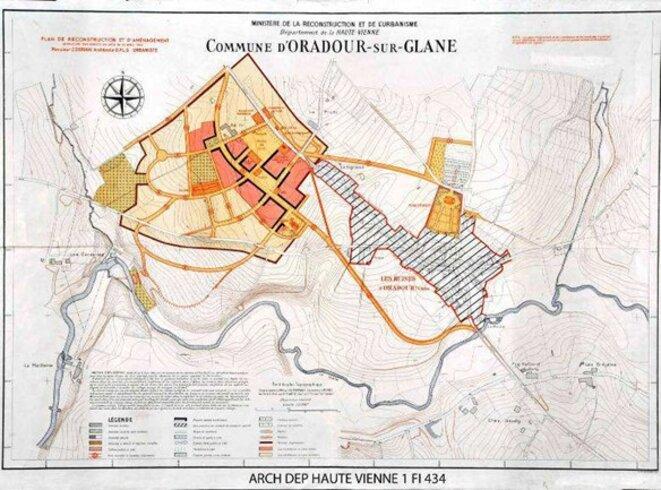 Carte 1. Plan de reconstruction d'Oradour-sur-Glane, 1947 © Archives départementales de la Haute-Vienne