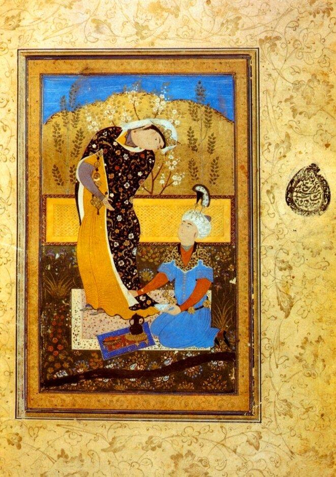 Les Amoureux,  d'après une copie datant de 1575 du Gulistan de Abū-Muḥammad Muṣliḥ al-Dīn bin Abdallāh Shīrāzī connu sous le nom de Saadi. Saint-Pétersbourg, Bibliothèque nationale russe