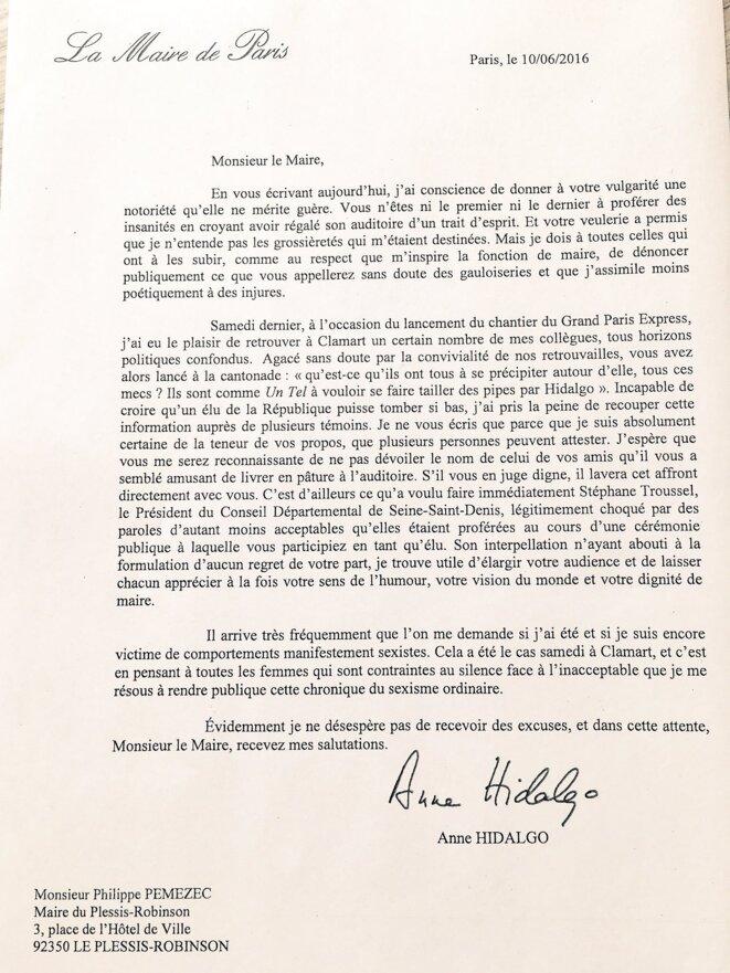 La lettre d'Anne Hidalgo