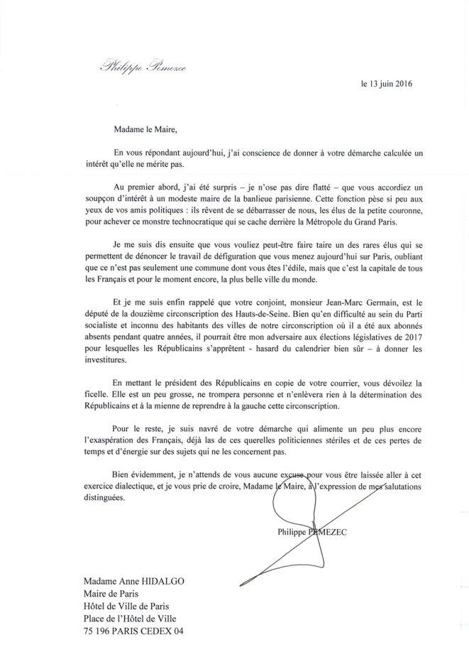 La lettre de Philippe Pemezec