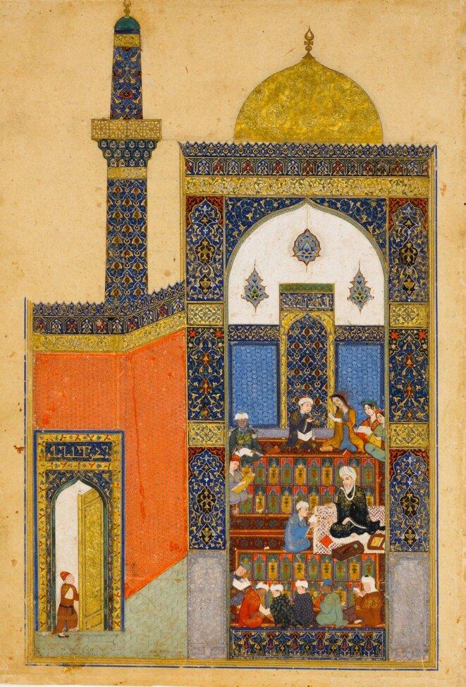 Miniature d'une copie de l'oeuvre de Lelya et Majnoun de Nezami (XII ème siècle), datant de 1431–32 (Herat, Afghanistan), relatant leur première rencontre alors enfants à la mosquée-école. La copie est l'oeuvre de Ja'far sur commande du prince timouride de Herat Baisunghur, l'un des plus grands bibliophiles qui aimait réunir dans sa cour les meilleurs peintres de Baghdad, Tabriz, Shiraz, Samarcande. Elle relate la première rencontre entre Leyla et Qaïs (futur majnoun) à la mosquée-école, © Metropolitan Museum of Art-New York