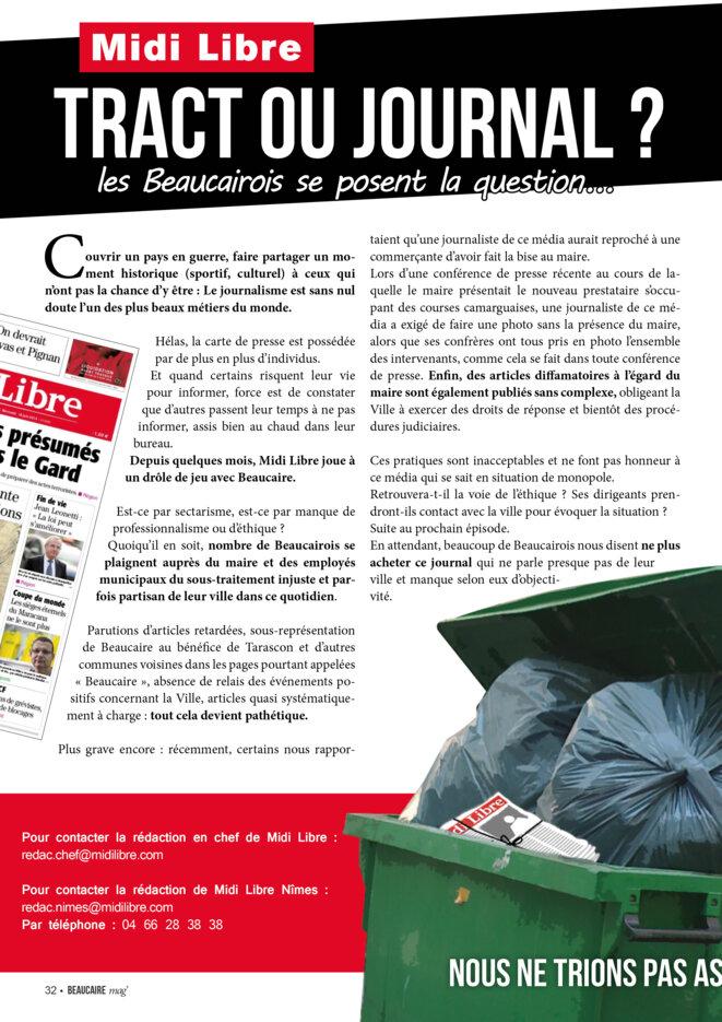 Dans le journal municipal de Beaucaire, Beaucaire Mag