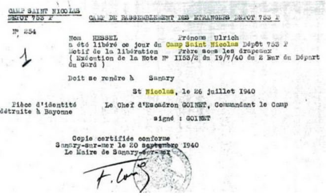 Relâche d'Ulrich Hessel, le 26 juillet 1940