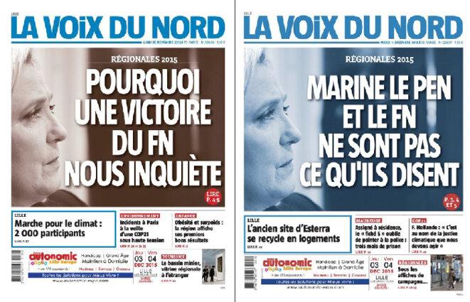 Les unes de La Voix du Nord, publiées les 30 novembre et 1er décembre 2015