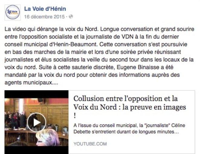 """Sur la page Facebook """"La Voie d'Hénin"""", le 16 décembre 2015."""