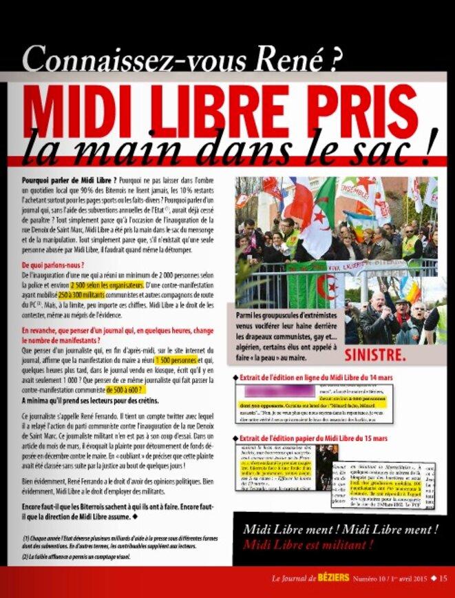 La page du journal municipal de Béziers consacrée au Midi-Libre en avril 2015.