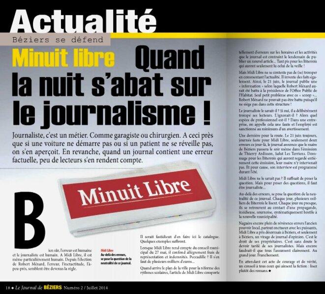 La double page du journal municipal de Béziers consacrée au Midi-Libre, en juillet 2014.
