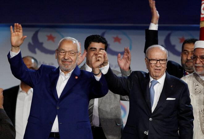 Rached Ghannouchi et Béji Caïd Essebsi au congrès d'Ennahda, à Tunis le 20 mai 2016. © Reuters
