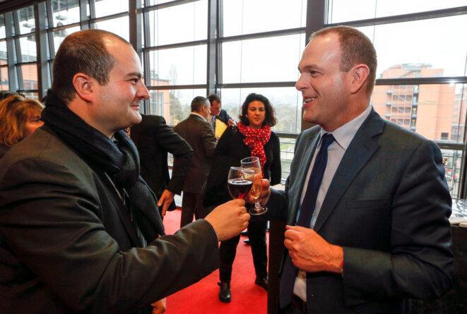 David Rachline, maire de Fréjus, et Steeve Briois, maire d'Hénin-Beaumont, au congrès du FN à Lyon, en novembre 2014 © Reuters