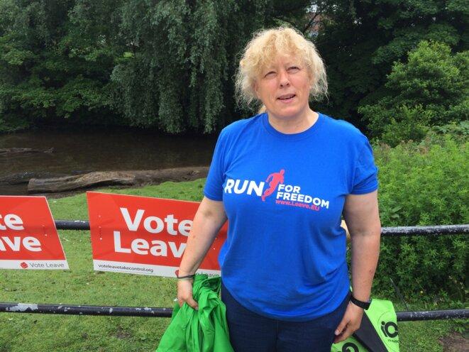 Hazel Norris et son t-shirt « Run for freedom / Leave EU » (courir pour la liberté / sortir de l'UE). ©DR.