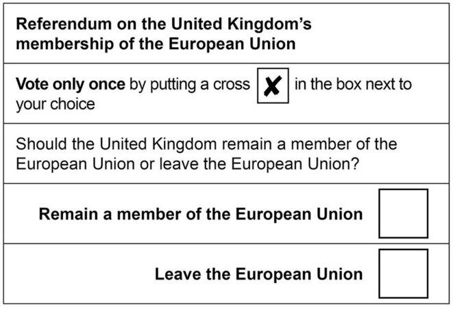 «Faites une croix à côté de votre choix » : le bulletin de vote du référendum sur l'Europe