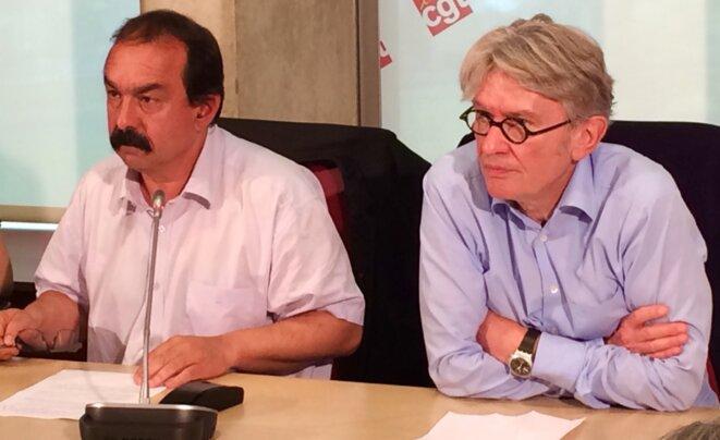 Philippe Martinez et Jean-Claude Mailly au siège de la CGT après leur entretien avec Bernard Cazeneuve, mercredi 22 juin 2016 © Rachida EL Azzouzi