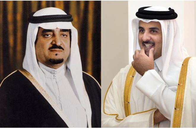 Le Roi FAHD d'ARABIE SAOUDITE et l'Emir AL THANI du QATAR