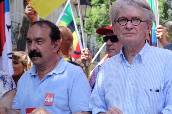 Philippe Martinez et Jean-Claude Mailly, manifestation contre la loi sur le travail, 23 juin 2016 © Rachida EL Azzouzi