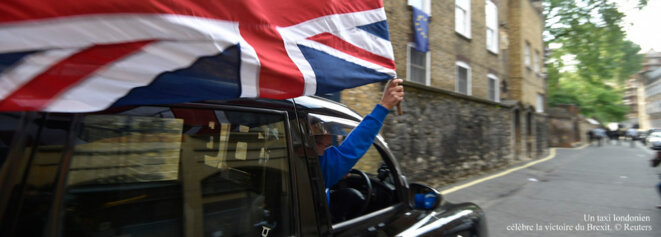 A London taxi driver celebrates the Brexit victory. © Reuters