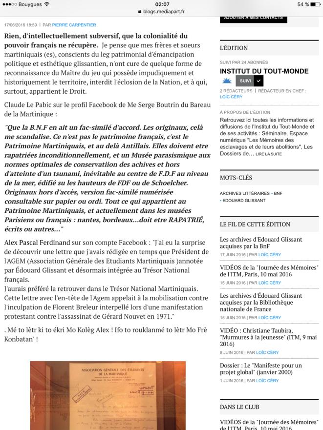 Les commentaires supprimés par Loïc Céry, le Coordonnateur du pôle numérique de l'Institut du Tout-Monde.