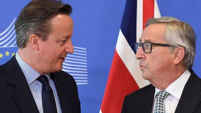David Cameron et Jean-Claude Juncker, le président de la commission européenne. © Reuters