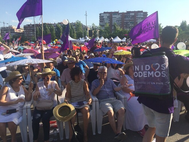 Meeting de Unidos Podemos en Madrid.