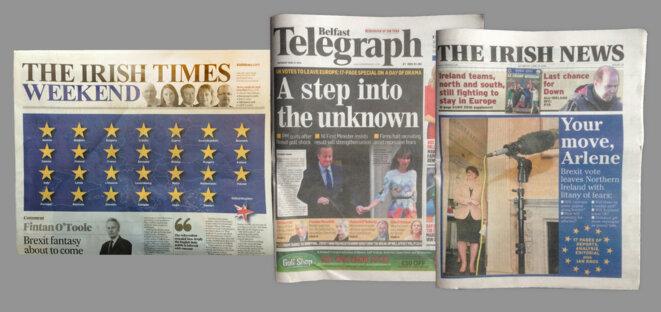 La presse irlandaise, samedi matin. © M.T. / Mediapart