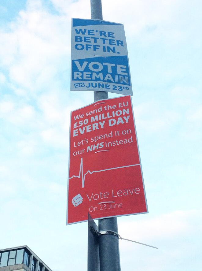 """Les pancartes du """"Leave"""" et """"Remain"""", encore accrochées aux lampadaires des grandes avenues. © M.T. / Mediapart"""