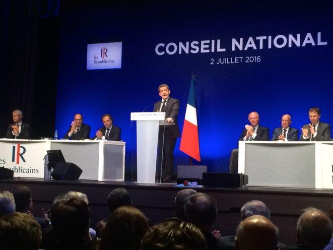 Nicolas Sarkozy au conseil national de LR, le 2 juillet. © ES