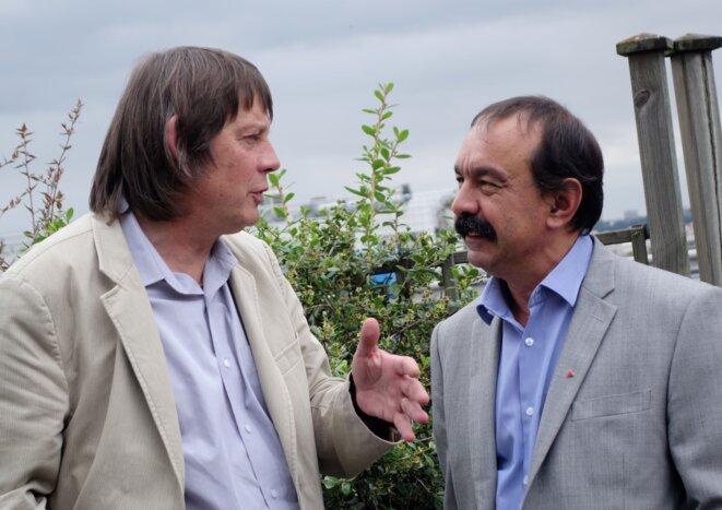 Bernard Thibault et Philippe Martinez au siège de la CGT à Montreuil, le 30 juin 2016. © Rachida El Azzouzi