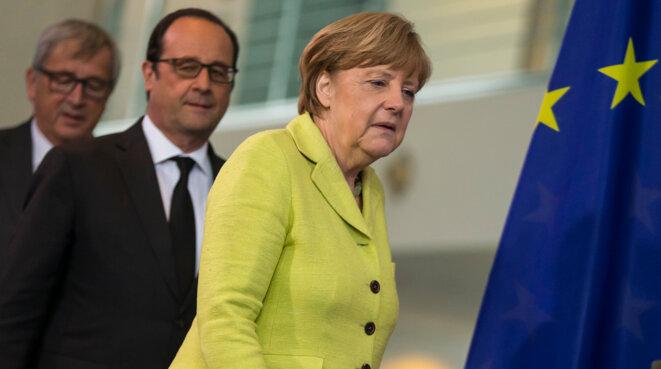 Jean-Claude Juncker, François Hollande et Angela Merkel le 1er juin 2015 © Reuters