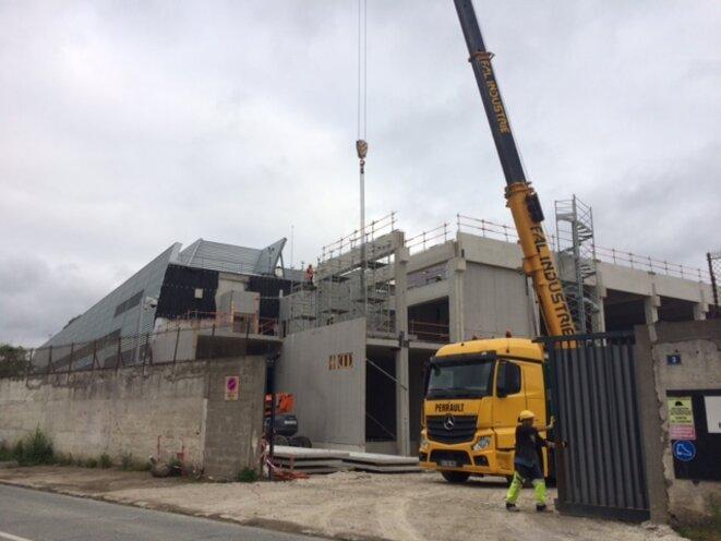 Chantier de l'extension du data center PAR 7 d'Interxion, à La Courneuve, 1er juillet 2016 (JL).