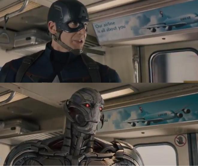 Avengers. La supériorité de Captain America sur Ultron ? Lui ne cache pas le slogan !