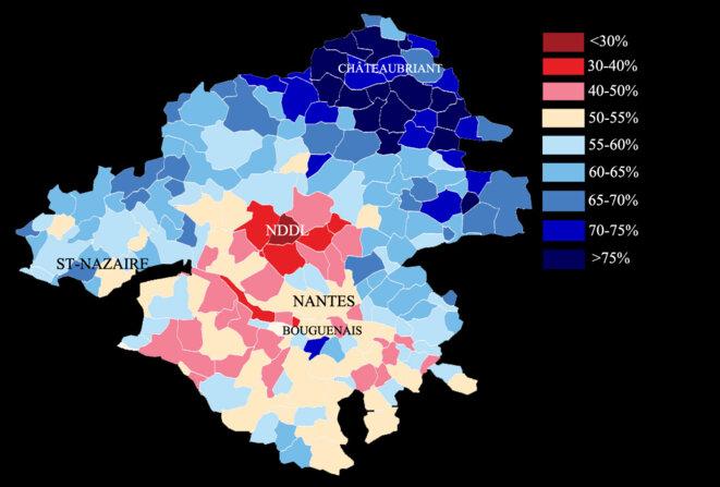 La répartition des votes dans le territoire consulté © L'Obs