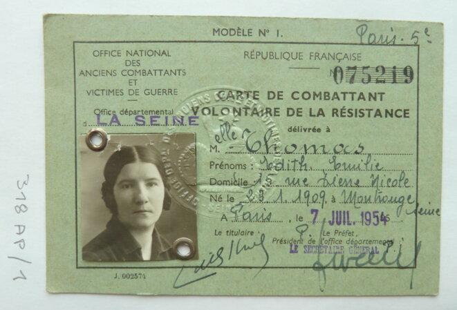 Carte de combattante volontaire de la Résistance d'Édith Thomas. © DR