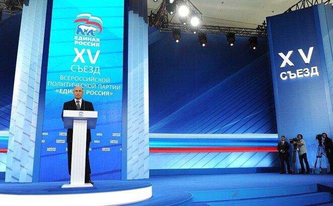 Vladimir Poutine au XVe Congrès de Edinaïa Rossia (Russie Unie) le 27 juin 2016. Le président dit vouloir des « élections propres » © Kremlin.ru