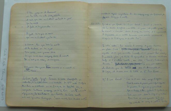 Pages du journal de guerre d'Édith Thomas, avec un poème. © DR
