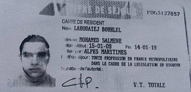 Le titre de séjour de Mohamed Lahouaiej Bouhlel © DR