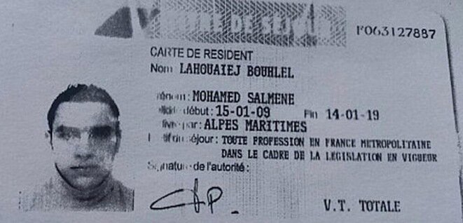 Mohamed Lahouaiej Bouhlel's residency permit. © DR