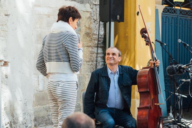Marie José Justamond et Vincent Segal, à l'apéro-découverte © Olivier Hoffschir