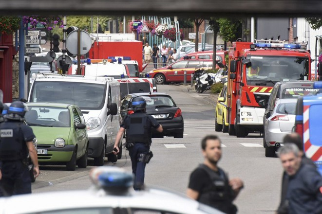 The scene close to the church of Saint-Étienne-du-Rouvray on Tuesday morning. © Reuters