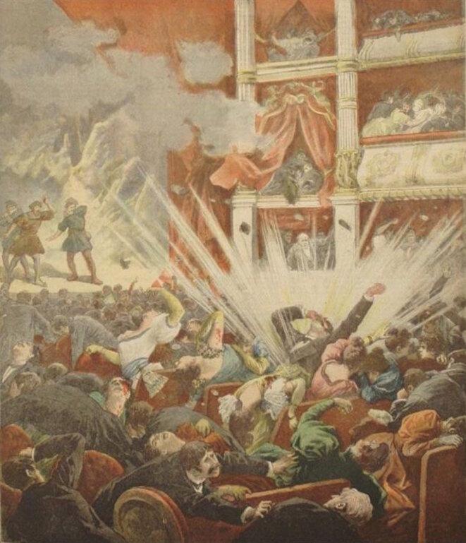 Explosion d'une bombe au Liceu de Barcelone en 1893 © Le Petit Journal