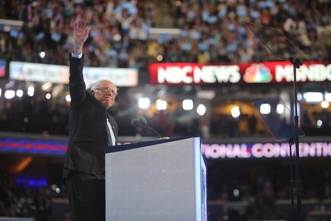 Bernie Sanders durante la convención demócrata.