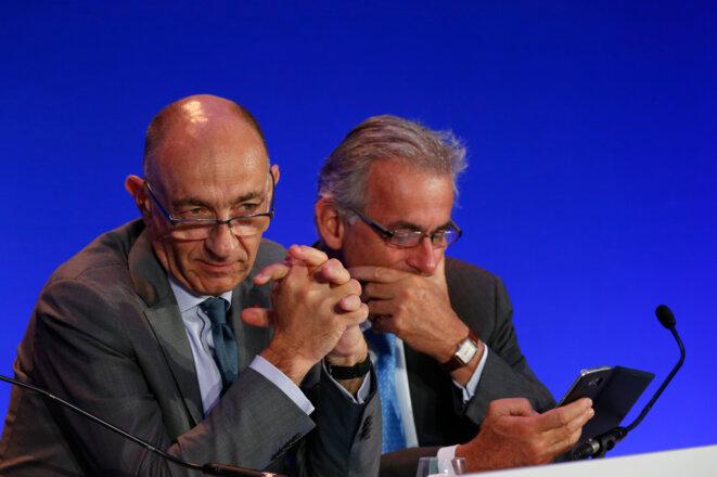 Jean-Marc Janaillac et Frédéric Gagey, respectivement dirigeant d'Air France-KLM et d'Air France, en juillet 2016. © Reuters - John Schults