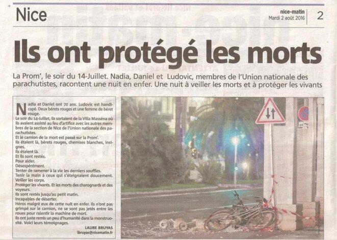 Remparts humains face à l'horreur, article de Laure BRUYAS paru en page 2 de Nice - Matin le 2 août 2016 © Laure Bruyas