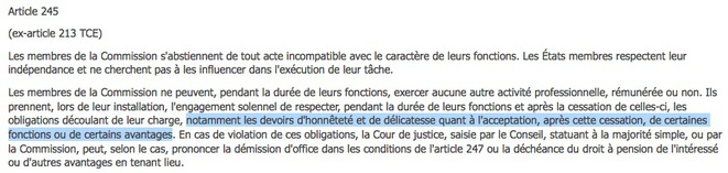 The French version of article 245 of the Treaty on the Functioning of the European Union.